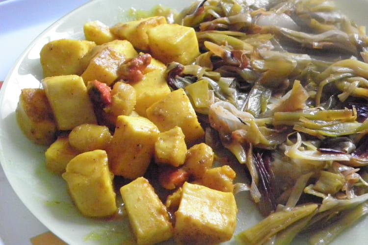 Lamelles d'encornets au curry et lait de coco