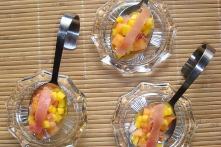 Cuillère melon, mangue et jambon de Bayonne