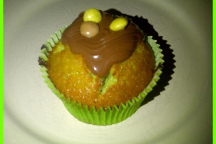 Muffins à la pistache, coeur nutella