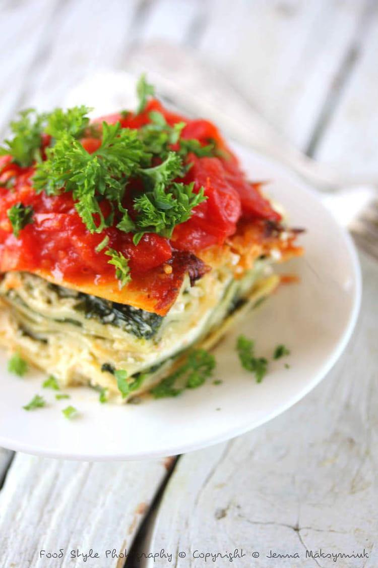 recette de lasagnes végétariennes aux épinards frais, ricotta et