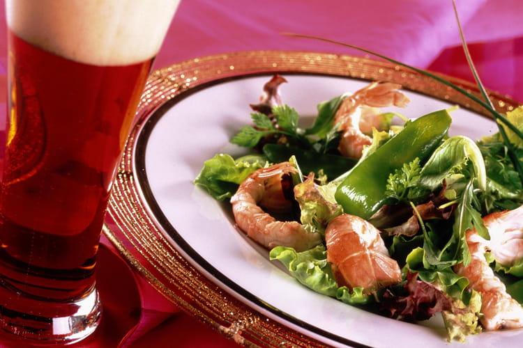 Salade aux langoustines et poids gourmands