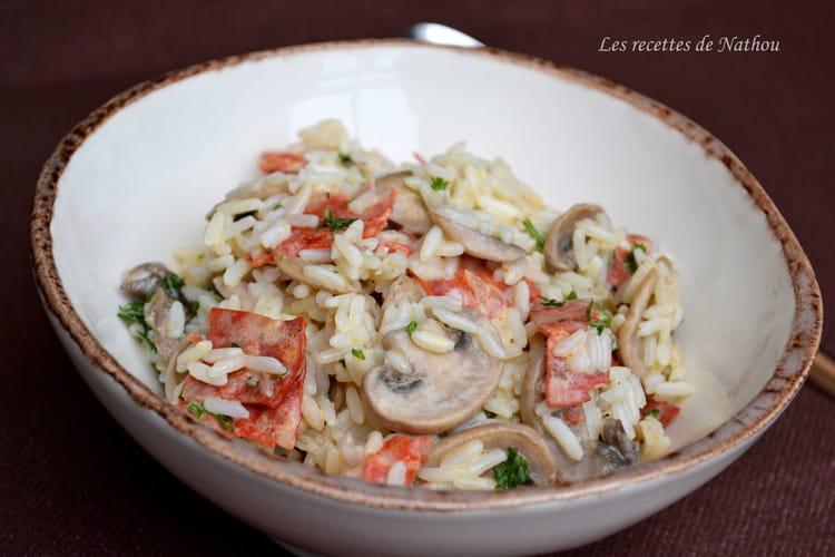 Riz crémeux aux champignons de Paris et chorizo
