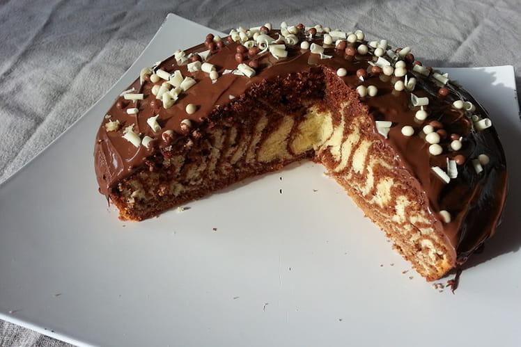 Gâteau marbré glaçage nutella