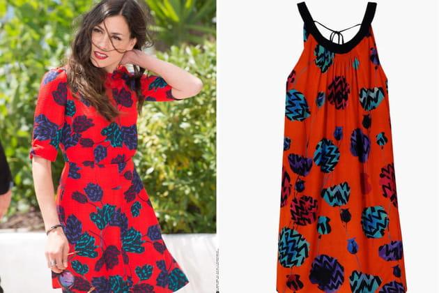 Olivia Ruiz : une robe rouge à fleurs