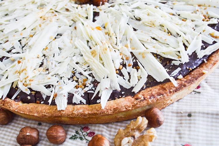 Tarte chocolat, caramel et fruits secs