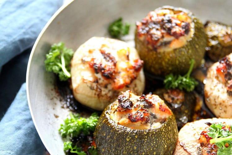 Courgettes et navets farcis au saumon et cabillaud
