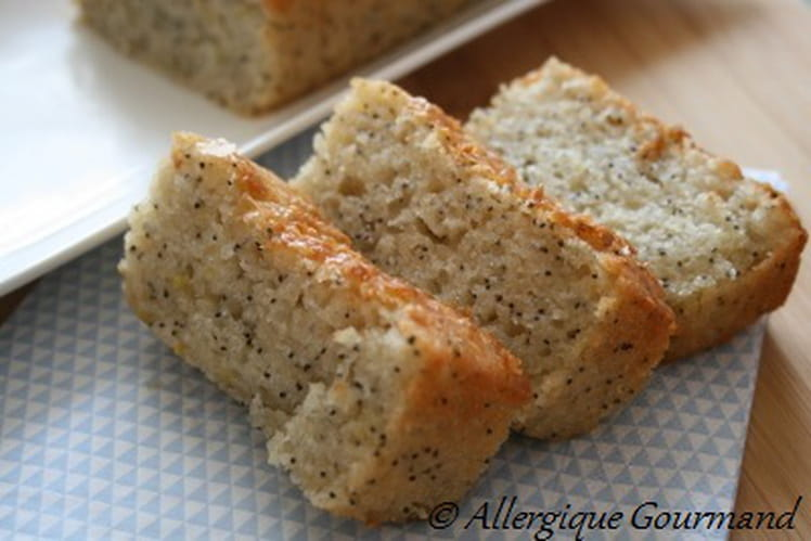 Cake citron-pavot sans gluten, oeufs, lait