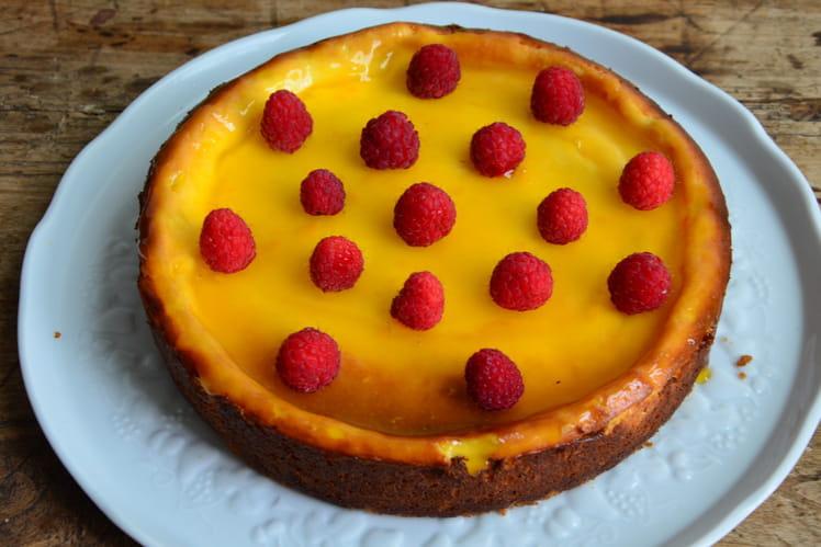Cheesecake au citron et framboises fraîches
