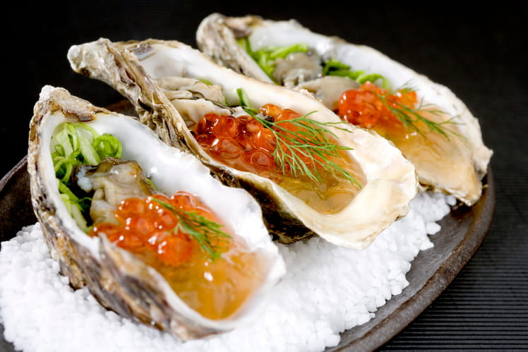 Huîtres aux algues et œufs de truite