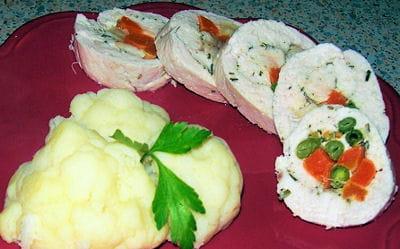 roulades de poulet vapeur aux légumes