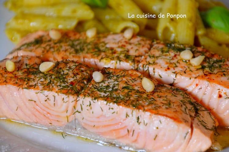 Filet de saumon cuit à basse température