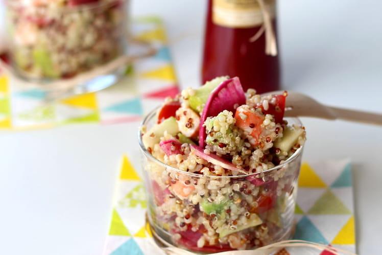 Quinoa gourmand aux crevettes, radis Red et pomme Granny