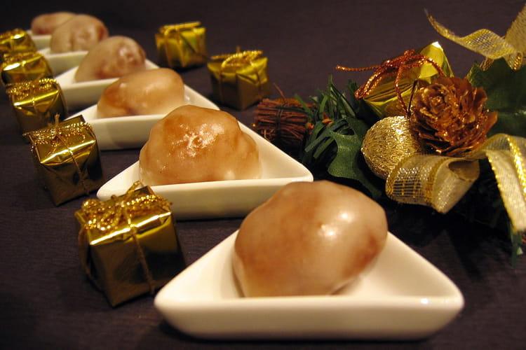 Marrons glacés au jus de pommes vanillé