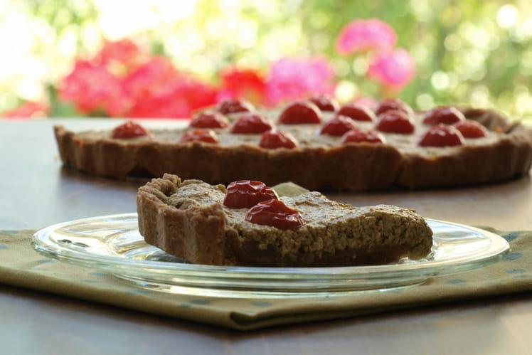 Tarte sans gluten pesto d'épinards tomates cerises