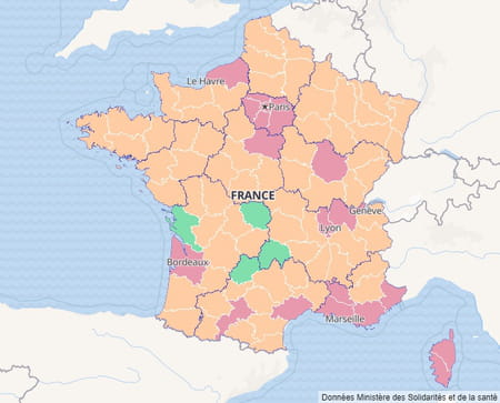 Carte du taux d'incidence en France au 7 septembre