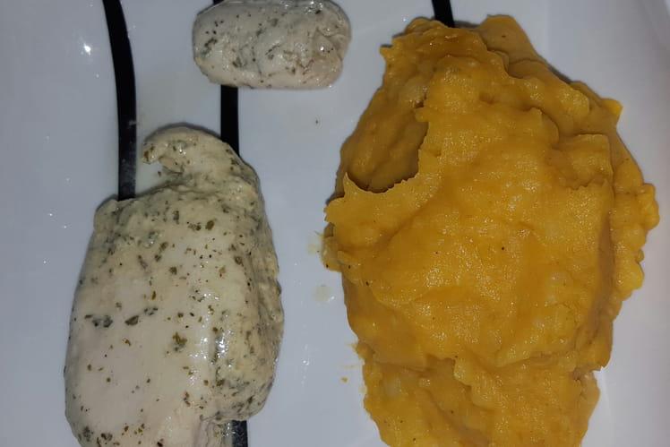 Papillote de poulet aux deux pommes de terre