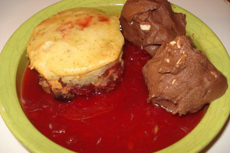 Clafoutis aux cerises et glace chocolat