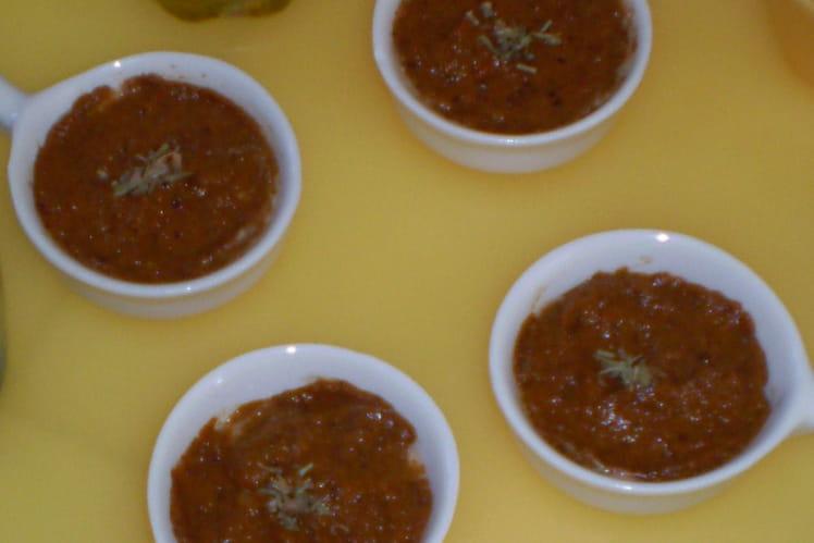 Verrines aux anchois et poivrons rouges