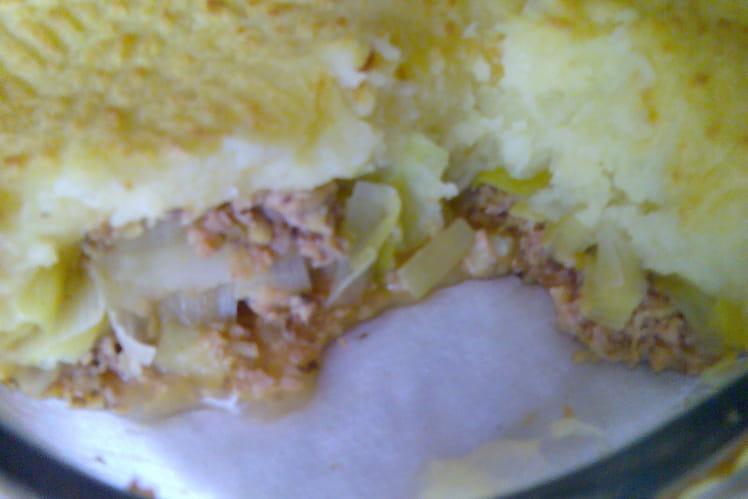 Parmentier de jambon à la fondue de poireaux