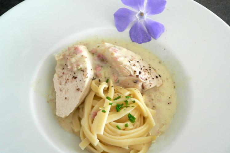 Blancs de poulet confits à la sauce carbonara