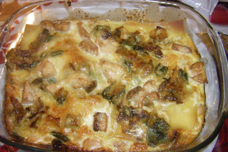 Lasagnes de saumon aux poireaux