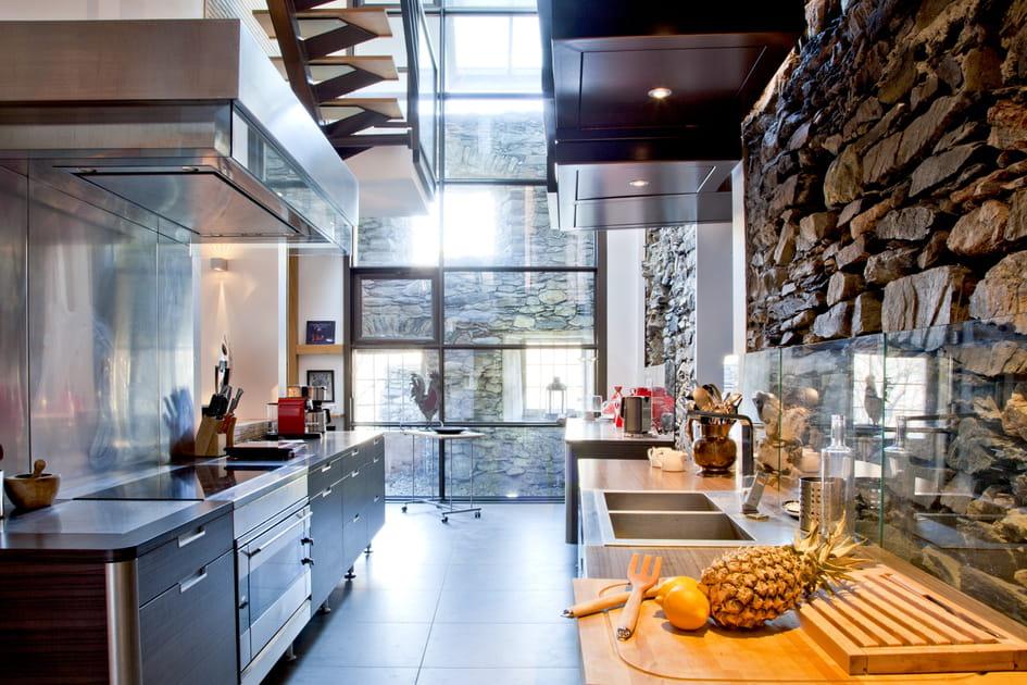 Une cuisine en Inox avec du mobilier foncé