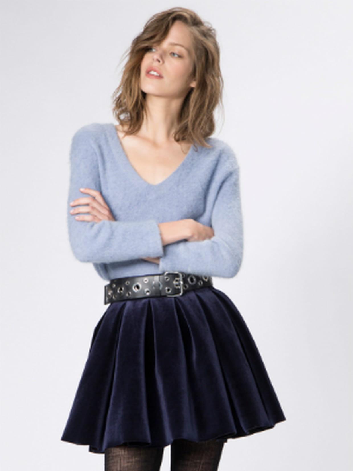 maje jupe bleue velour paris