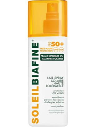 lait spray solaire haute tolérance 50 biafine.