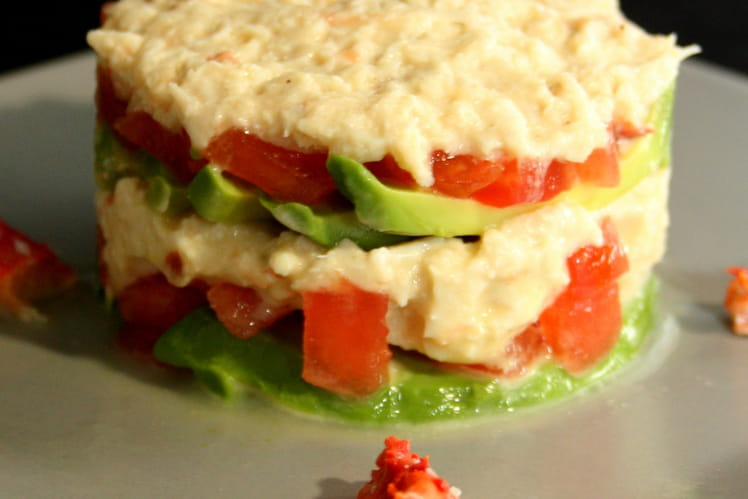 Millefeuille crabe, avocats et tomates