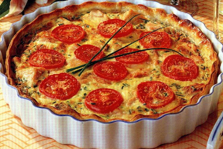 Quiche poireau/tomate/saumon