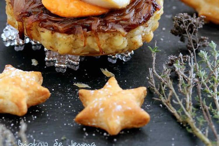 Tatin d'échalotes caramélisées et sa coquille Saint-Jacques au beurre de sauge