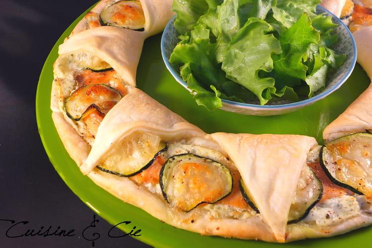 Tarte feuilletée au saumon et courgettes et Boursin