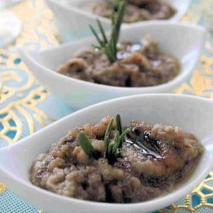 caviar d'aubergine au miel et au romarin