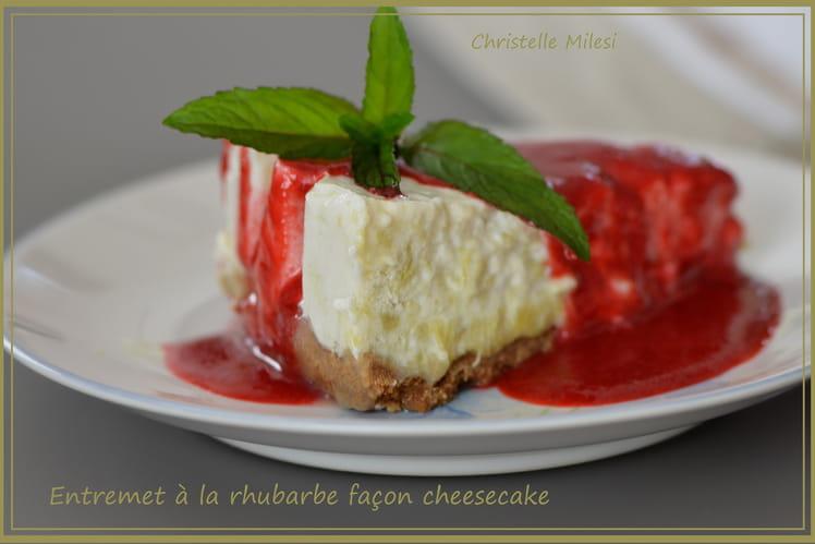 Entremet à la rhubarbe façon cheesecake