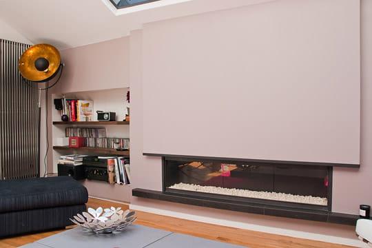 une chemin e moderne. Black Bedroom Furniture Sets. Home Design Ideas