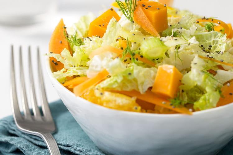 Salade vitaminée à l'orange, papaye, carotte et mimolette