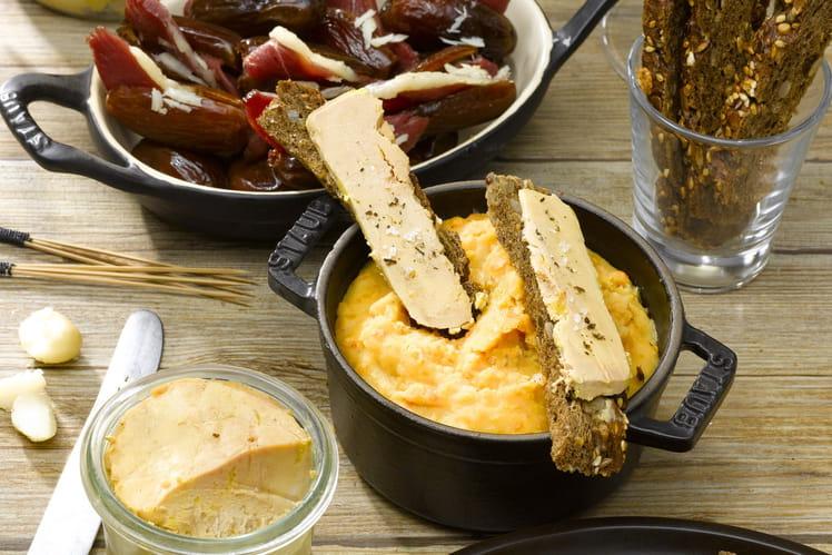 Dattes au magret, Purée de lentilles, Toasts de foie gras