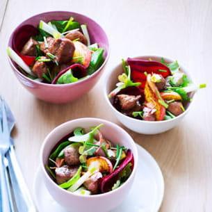 salade tiède au foie de veau laqué au miel