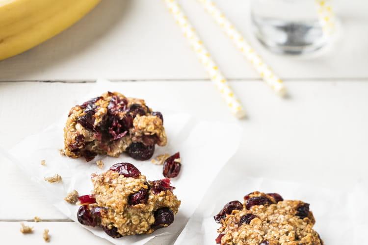 Cookies de flocons d'avoine, bananes et cranberries