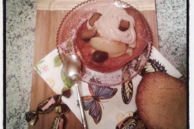Tuile aux amandes garnie de poires caramélisée et de mousse de mascarpone aux Magnificat tendre choco de Lutti