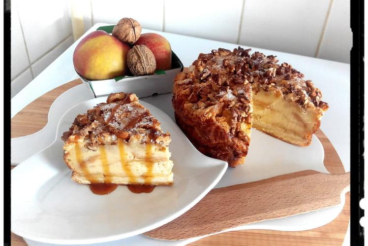 Pudding façon charlotte briochée aux pommes vanillées et noix