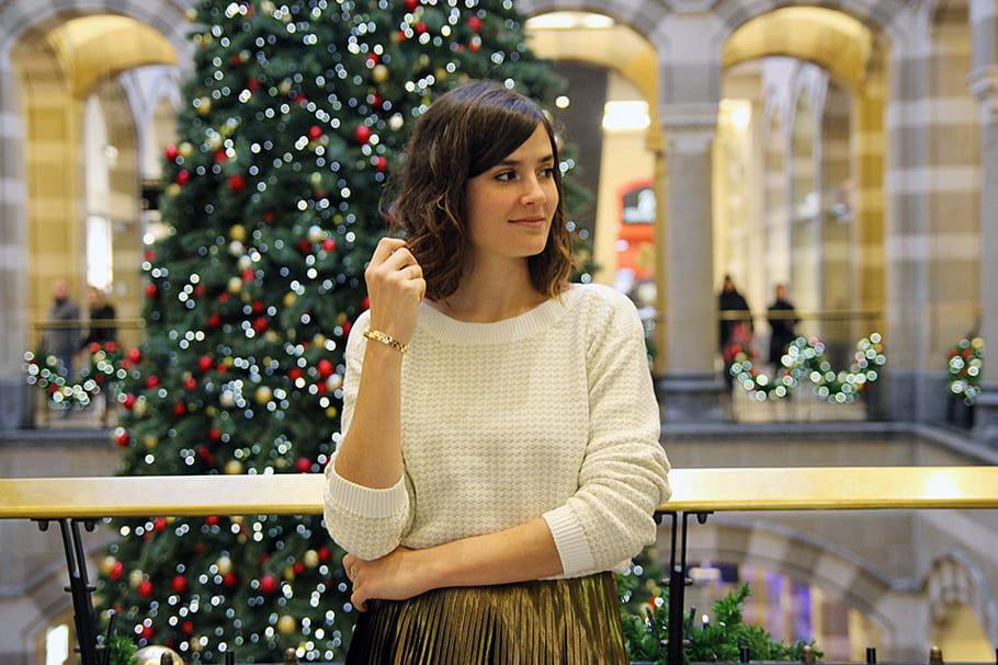 Le look blogueuse de la semaine: Victoria du blog Mango & Salt, mère Noël en or