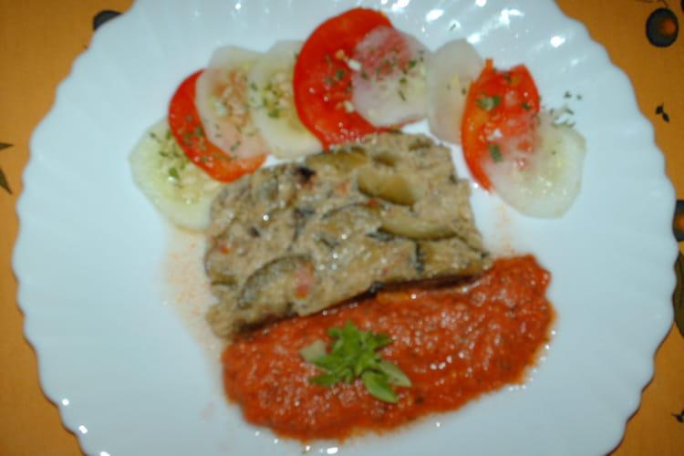 Flan de courgettes et coulis de tomates