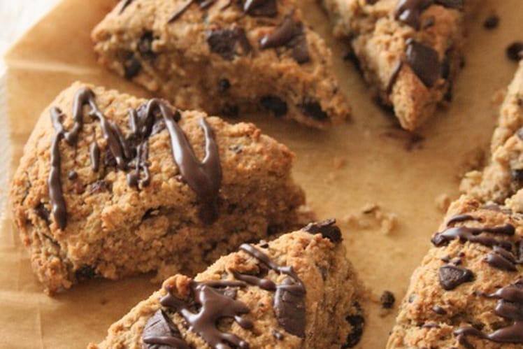 Scones à la fève de cacao et chocolat sans gluten, sans lait et sans oeufs
