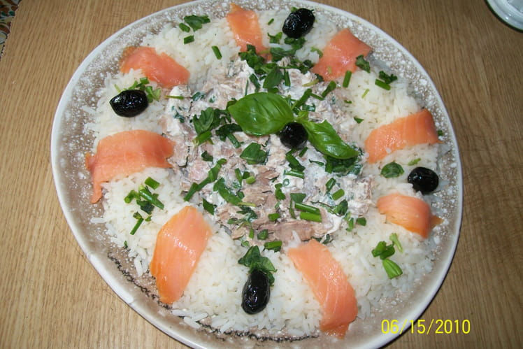 Couronne de riz au thon, saumon et fromage