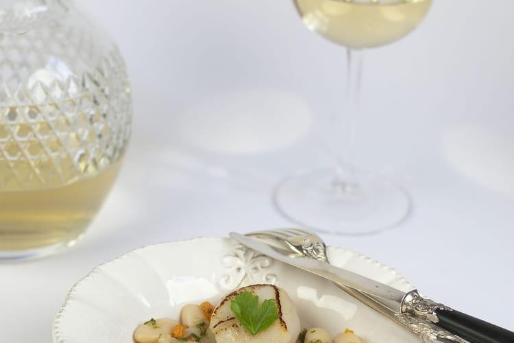 Haricots Tarbais tièdes et potiron, vinaigrette de persil et Saint-Jacques rôties