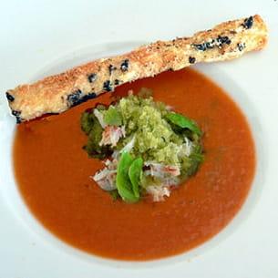 gazpacho alvalle, crabe et granité de basilic
