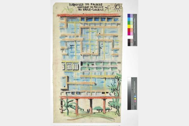 Dessin des Unités d'habitation, Le Corbusier