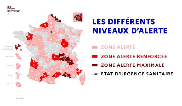 carte des zones d'alerte en France au 10 octobre 2020