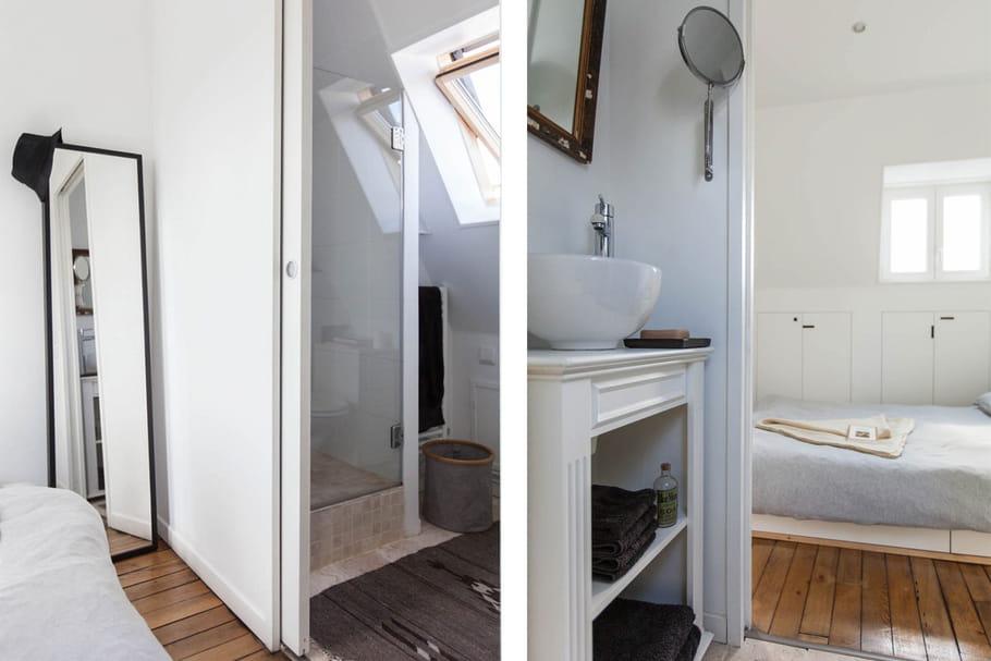 une salle d 39 eau communicant avec la chambre petit espace un chouette nid sous les combles. Black Bedroom Furniture Sets. Home Design Ideas